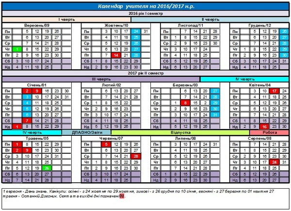 Календар учителя на 2016-2017 навчальний рік