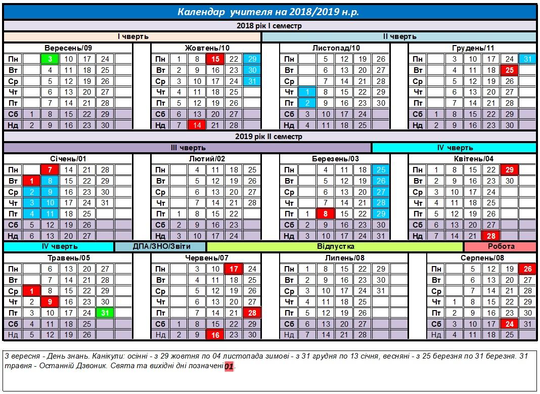Календар учителя на 2018-2019 навчальний рік